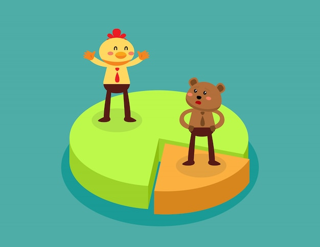 Animal de negocios en diferentes piezas de gráfico circular