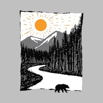 Animal oso camino salvaje ilustración
