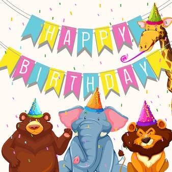 Animal en plantilla de fiesta de cumpleaños