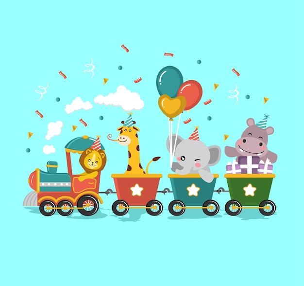 Animal safari cumpleaños tren niños niños ilustración
