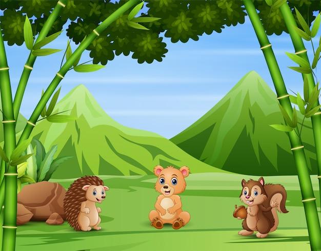 Animal salvaje disfrutando en el campo
