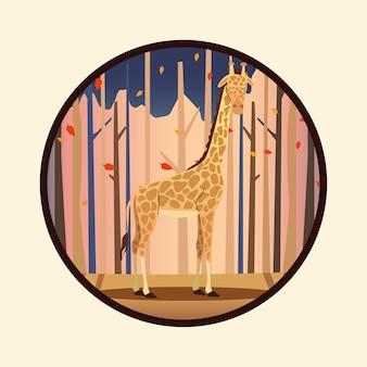Animal salvaje jirafa africana en marco circular