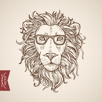 Animal salvaje retrato de león estilo hipster ropa humana accesorio con gafas.