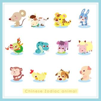 Animal del zodíaco chino, ilustración de dibujos animados