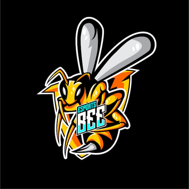 Animales abeja logo estilo deportivo