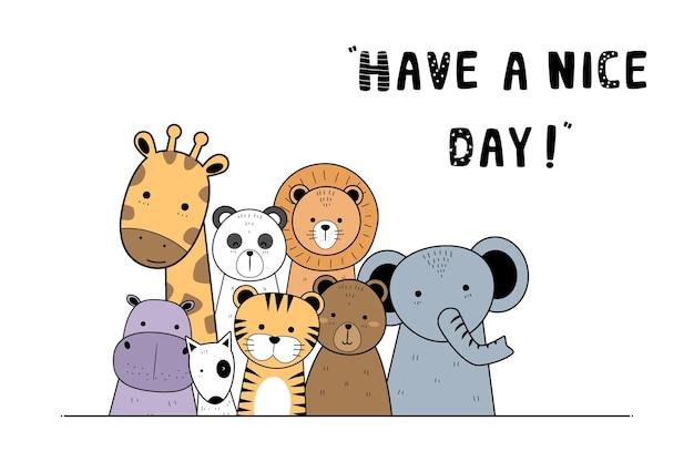 Animales adorables lindos saludo fondo de doodle de dibujos animados