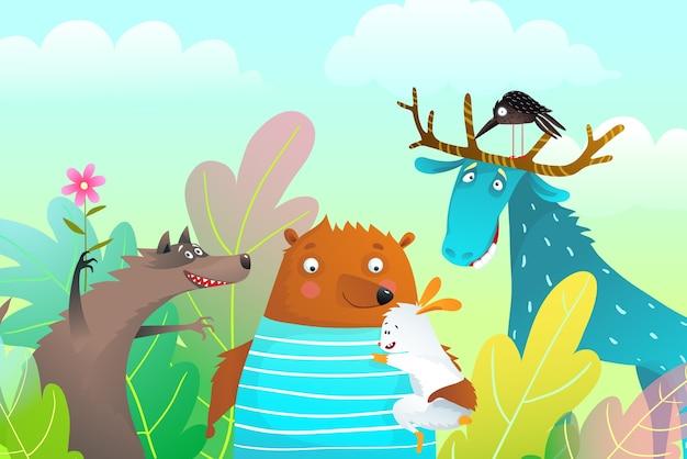 Animales alces oso lobo y conejo personajes amistad retrato en la naturaleza con árboles.