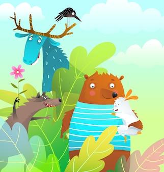 Animales amigos oso alce conejo y lobo en el bosque feliz sonriendo tarjeta de felicitación de historia de vida silvestre.