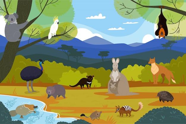 Animales australianos en paisaje natural, personajes de dibujos animados de vida silvestre, ilustración