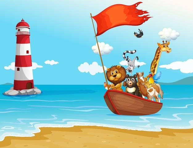 Animales y barco