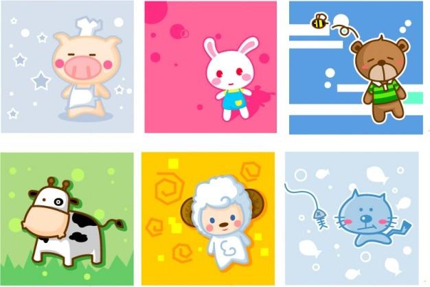 Animales birhtday conjunto de vectores tarjetas de dibujos animados