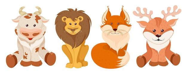 Animales del bosque en estilo de dibujos animados aislado en blanco