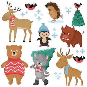 Animales del bosque felices en invierno y árboles de navidad aislados en el conjunto de vectores de fondo blanco