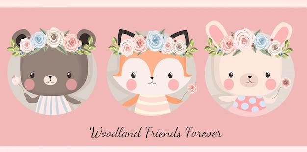 Animales del bosque floral