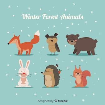 Animales de bosque inviernal