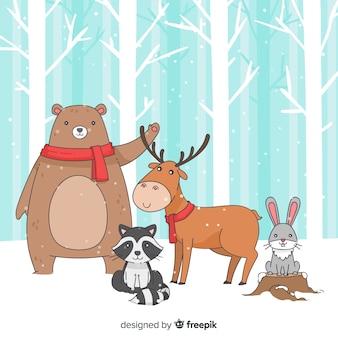 Animales de bosque en invierno