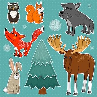 Animales del bosque de invierno