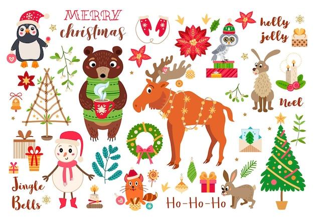 Animales del bosque navideño en estilo de dibujos animados