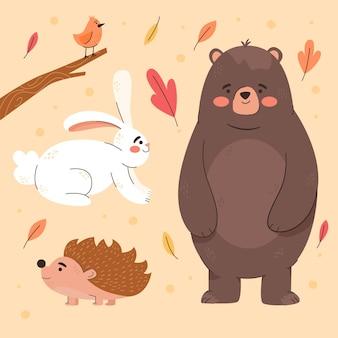 Animales del bosque otoñal