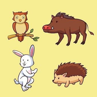 Animales del bosque de otoño dibujados a mano