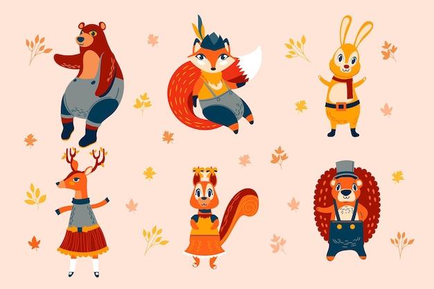 Animales del bosque de otoño