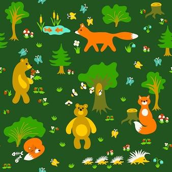 Animales en el bosque de patrones sin fisuras