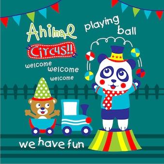 Animales de circo muestran dibujos animados divertidos