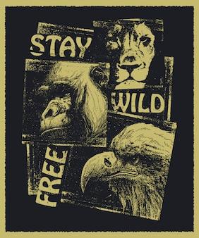 Animales collage dibujado a mano.