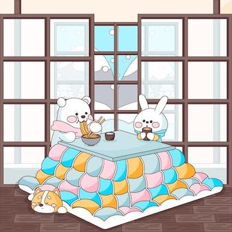 Animales comiendo y sentados alrededor de una mesa kotatsu.