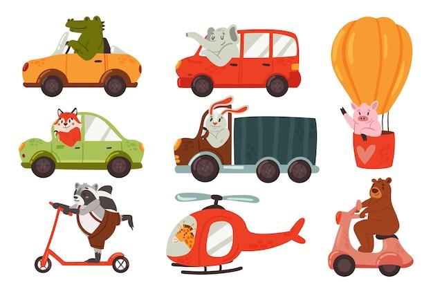 Animales conducen coche vehículo transporte set conductores divertidos conejito conejo elefante zorro mapache