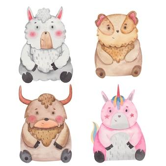 Animales conejillo de indias, yak, unicornio, alpaca acuarela ilustración