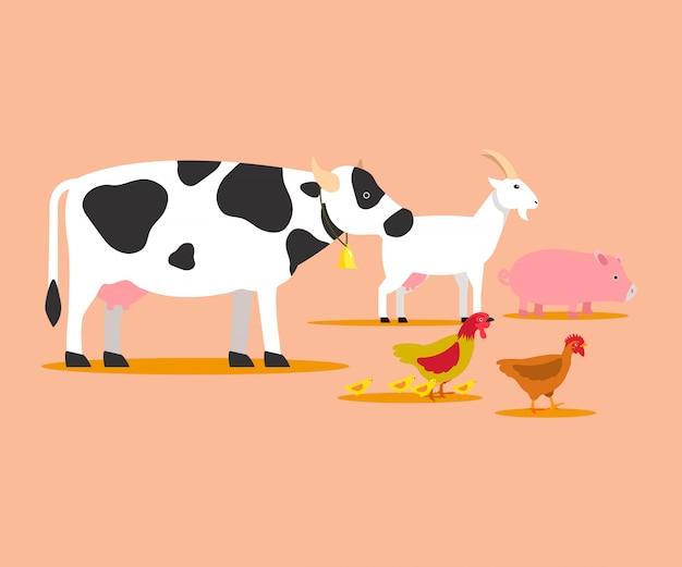 Animales de cría de dibujos animados de vectores personajes