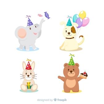 Animales de cumpleaños en diseño plano