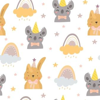 Animales de cumpleaños y patrón de arco iris.