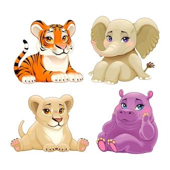 Animales de la jungla bebé con lindos ojos.