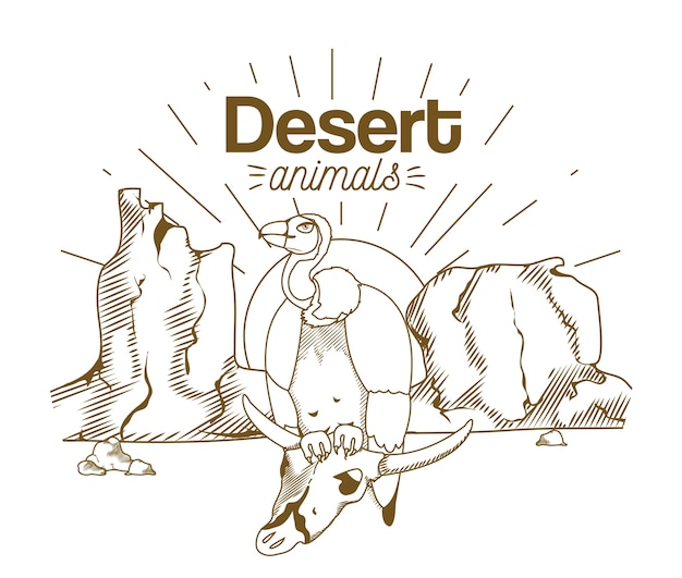 Animales del desierto dibujo a mano de dibujos animados