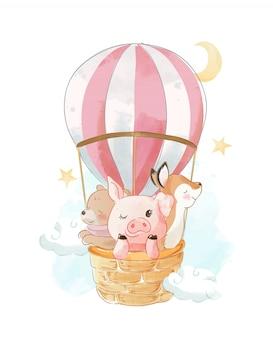 Animales de dibujos animados en la ilustración del globo de aire caliente