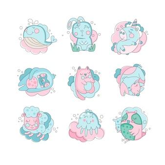 Animales de dibujos animados lindo bebé durmiendo, concepto de dulces sueños ilustración sobre un fondo blanco