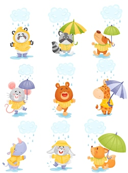 Animales de dibujos animados lindo con impermeables caminan bajo la lluvia