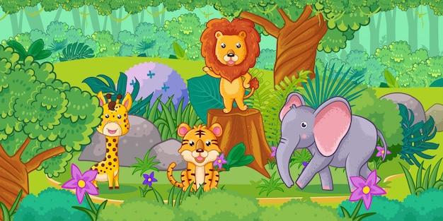 Animales de dibujos animados lindo en la selva. conjunto de animales.