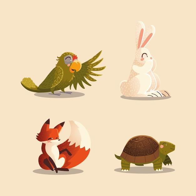 Animales de dibujos animados loro conejo zorro y tortuga ilustración de vida silvestre