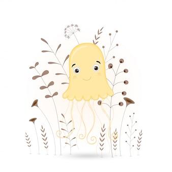 Animales de dibujos animados medusas con ramas y plantas.