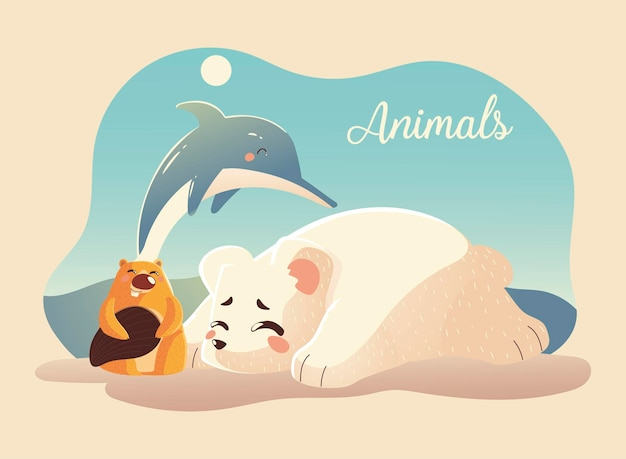 Animales dibujos animados oso polar delfín y castor ilustración