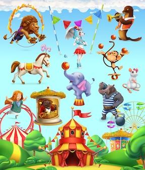 Animales divertidos de circo. conjunto de iconos.