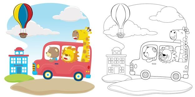 Animales divertidos en coche rojo van a la escuela