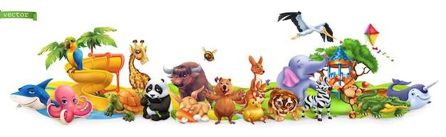 Animales divertidos. conjunto de dibujos animados