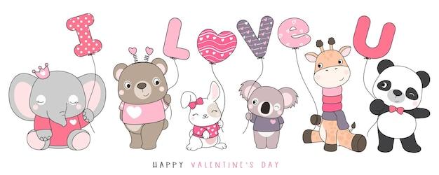 Animales divertidos lindos del doodle para la ilustración del día de san valentín