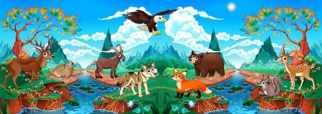 Animales divertidos de madera en un paisaje de montaña con río.