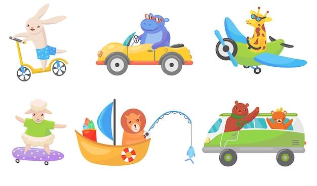 Animales divertidos en transporte conjunto de mascotas planas.