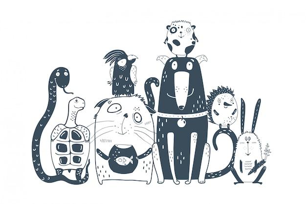 Animales domésticos mascotas juntos retrato